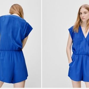 Babaton XS Blue 100% Silk Corbett Romper